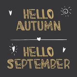 Decorative lettering collection Hello autumn and Hello september . Royalty Free Illustration