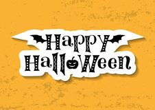 Decorative lettering of Happy Halloween in black decorated with bat wings and pumpkin in paper cut style on orange background. For decoration, poster royalty free illustration