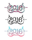 Decorative lettering 2016 Royalty Free Stock Photography