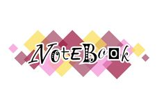Decorative lettering of Notebook on colorful background of squares Stock Photography