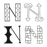 Decorative letters of the alphabet. Lettering for design, scrapbooking, digital stamps. Vector. Illustration stock illustration