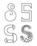 Decorative letters of the alphabet. Lettering for design, scrapbooking, digital stamps. Vector. Illustration royalty free illustration