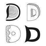 Decorative letters of the alphabet. Lettering for design, scrapbooking, digital stamps. Vector illustration royalty free illustration