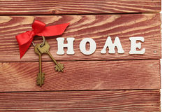 Decorative letters forming word HOME with bunch of keys Stock Photography