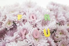 Decorative letters forming words `FOR YOU`. With pink flowers. selective focus Stock Photos