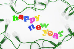 Decorative Light Bulbs with New Year Greetings Stock Images
