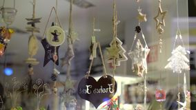 Christmas Shop Window Decoration stock video footage