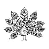 Decorative line art doodle style tribal peacock Royalty Free Stock Photos