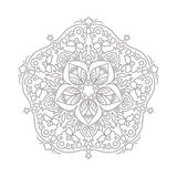Decorative line art frame for design template. Elegant vector element, place text. Grey outline floral border. Lace Royalty Free Stock Photos