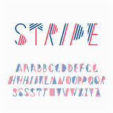 Decorative line striped font. Royalty Free Stock Images