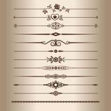 Decorative lines. Elements for a vintage design - decorative line dividers. Vector illustration.rn Royalty Free Stock Photo