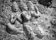 Decorative lintel in black and white, Thailand Royalty Free Stock Image
