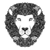 Decorative Lion with Patterned Mane. Vector Decorative Lion with Patterned Mane Royalty Free Stock Images