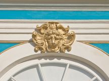 Decorative lion's head. On a wall of Ekaterina's palace, Pushkin, Russia Stock Photography