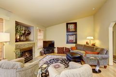 Decorative living room with beautiful rug. Decorative libing room with nice rug, and fireplace Stock Image