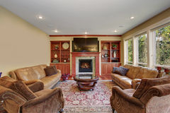 Decorative living room with leather sofas, and a rug. Decorative living room with leather sofas, hardwood floor, and a rug Stock Photos