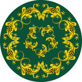 Decorative lizard. Decorative illustration of yellow lizards on a green background Royalty Free Stock Image