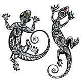 Decorative lizard set Royalty Free Stock Images
