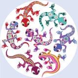 Decorative lizards. Decorative cartoon lizards  on white Stock Photos