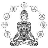 Decorative lotus yoga woman black icon Stock Photos