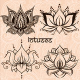 Decorative lotuses Royalty Free Stock Images