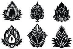 Decorative lotuses set royalty free illustration