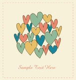 Decorative love banner with hearts in circle. Dood Royalty Free Stock Photography