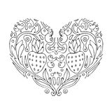 Decorative Love Heart with flowers and berries. Valentines day card. Coloring book for adult and children. Coloring page. Outline Royalty Free Stock Images