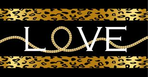 Decorative `Love` text with with golden chain on leopard royalty free illustration