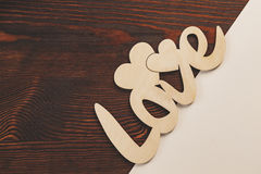Decorative love wooden text Royalty Free Stock Image