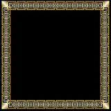 Decorative luxurious golden frame in art deco style. on black background. Square border with 3d embossed effect Elegant stock illustration