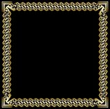 Decorative luxurious golden frame on black background. Square border with 3d embossed effect in art deco style. Elegant vector illustration