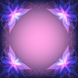 Decorative luxury frame with pink - violet flower Stock Photography