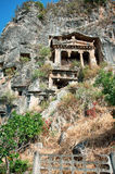Decorative lycian tomb in Fethiye, Turkey Stock Images