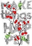 Decorative make things happen colorful flowers and with denim typography design for t-shirt stock photos