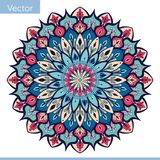Decorative mandala in blue pink colors vector illustration