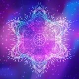 Decorative mandala round pattern with sacred geometry element Me. Tatron Cube, powerful symbol, Flower of Life. Alchemy, philosophy, spirituality. Design music Stock Photography