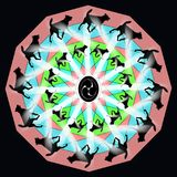 Decorative mandala with silhouettes running dogs. Digital computer graphic - decorative mandala with silhouettes running dogs royalty free illustration