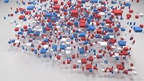 Decorative Map of Arizona - USA -. Map of Arizona - USA | 3D Fall down of little bricks - Flag colors stock video
