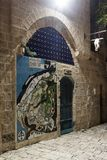 Decorative map of the old Yafo city on the wall of the house in on old city Yafo in Tel Aviv-Yafo in Israel Stock Photography