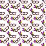 Mardi Gras Masks Seamless Pattern stock illustration