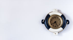Decorative marine clock on a white background Royalty Free Stock Photos