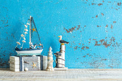 Decorative marine items on wooden background. Royalty Free Stock Photos