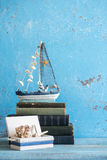 Decorative marine items on wooden background. Stock Photography