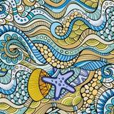 Decorative marine sealife ethnic background Royalty Free Stock Photos
