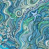 Decorative marine sealife ethnic background Royalty Free Stock Image