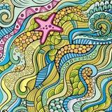 Decorative marine sealife ethnic background Stock Images