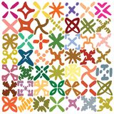 Colorful X marks grid, made up of hand drawn marker marks. Decorative, X marks, all approximately same size, creating colorful, grid like simplistic pattern Royalty Free Stock Photo