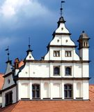 Decorative medieval rooftop. Decorative old medieval rooftop with windows Stock Image