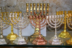 Decorative menorah (hanukkiah), religious candleholder Royalty Free Stock Images